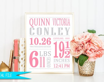 Birth Stat, Birth Announcement, Birth Stats Sign, Baby Girl Nursery, Birth Details Sign, Baby Girl Gift, Girl Birth Story, New Baby Gift