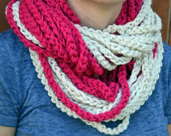 Fuchsia chunky crocheted loop infinity scarf, cowl, chain necklace