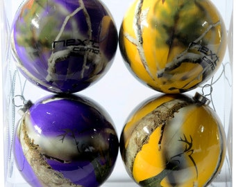 Next Camo Purple and Gold Christmas Ornaments