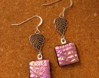Pink Dichroic Earrings - Fused Glass Earrings - Fused Glass Jewelry - Dichroic Jewelry - Leaf Earrings - Glass Earrings - Glass Jewelry