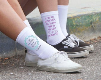 Faith and Bible Verses Socks - Women's Crew Socks Printed with Words of Faith and Bible Verses, Sold by the Pair