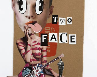 """Collage Print: """"Two Face"""" by Ian Ball"""