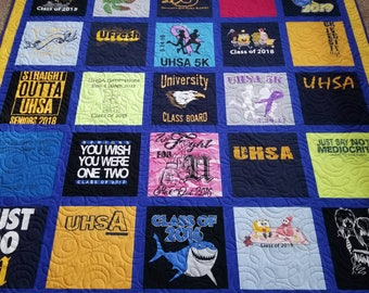 Custom t shirt quilts made from 9 to 49 tshirts. Memory T-shirt quilts