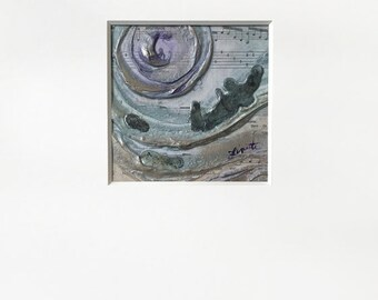 Abstract Sheet Music Plaster Painting in Purple, Teal and warm Metallic Silver w/ White Mat - Original Acrylic Art on Panel