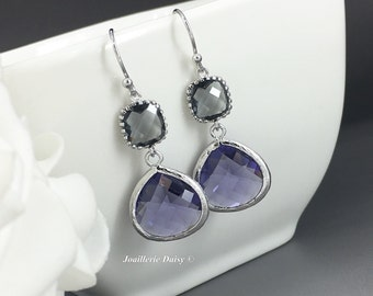 Purple Earrings Grey Earrings Bridesmaid Earrings Bridesmaid Gift Violet Earrings Accessories Wedding Jewelry