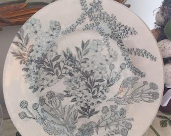 Reverse Decoupage Decorative Glass Plate