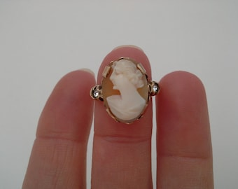 Vintage Cameo Ring, Gold Filled Cameo Ring, Clark Coombs Ring, Carved Cameo Ring, Cameo Rhinestone Ring, C & C Ring, Cameo Jewelry,