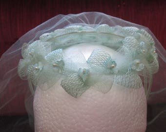 1950's/1960's Bridesmaid Headpiece Aqua with Blusher Veil/Forget-Me-Nots  #18024
