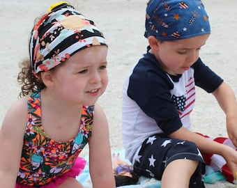 CUSTOM child bandana, boy or girl beach headscarf, wide headband, kids headscarf, cotton hair wrap, newborn bandana, baby bandana, toddler