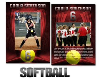 "Softball ""Heroes"" Cards Templates"