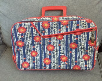Vintage Red Canvas Floral with Blue Suitcase Carry on