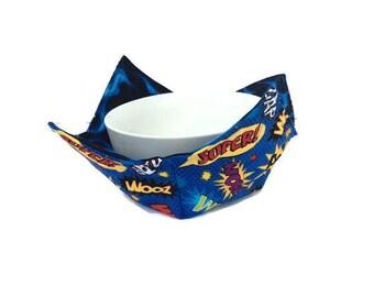 Super Hero Bowl Cozy for Kids, Microwave Bowl Holder, Reversible Bowl Holder, Child's Bowl Hot Pad, Soup Bowl Potholder