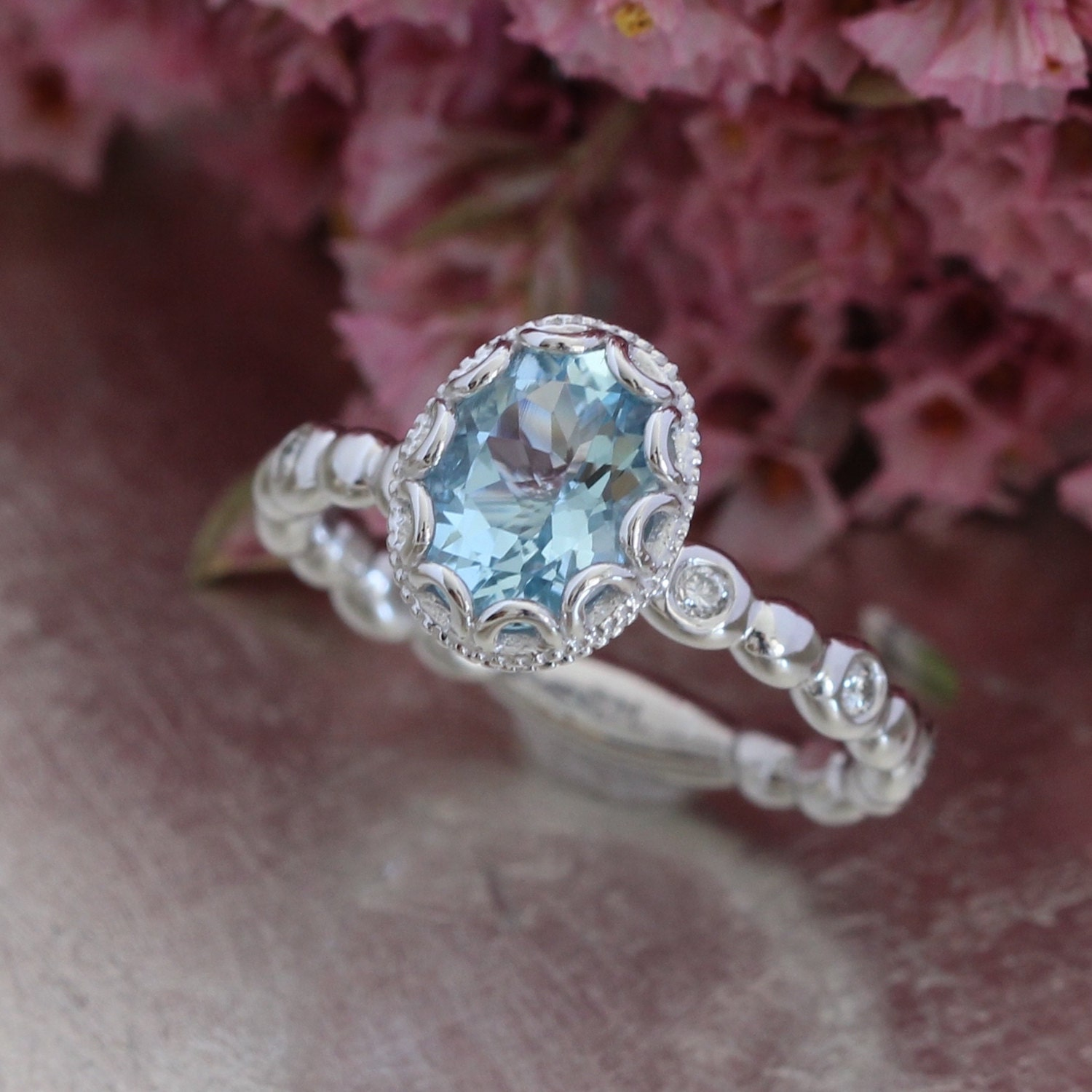 products flower second hand diamond and collection fifth jewellery the ring aquamarine sapphire