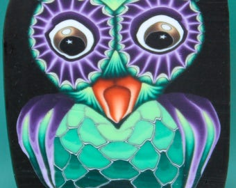 Owl Polymer Clay Cane -'Night Owl' series (50dd)