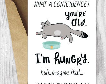 Sarcastic Birthday Cards Instant Download, Funny Printable Cat Birthday Cards, Tabby Cat Card Digital Download, Getting Old Birthday Cards