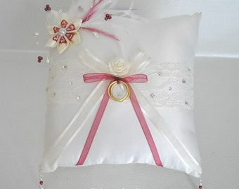 Ref Casandra Burgundy ivory and swarovski rhinestone wedding pillow