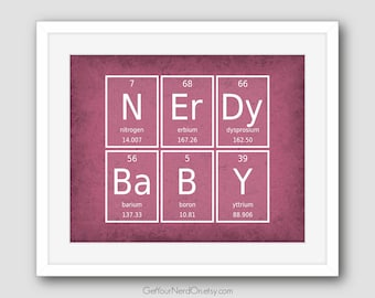 Nerdy Baby Wall Art, Nursery Decor, Science Geek Gift, New Parent Gift