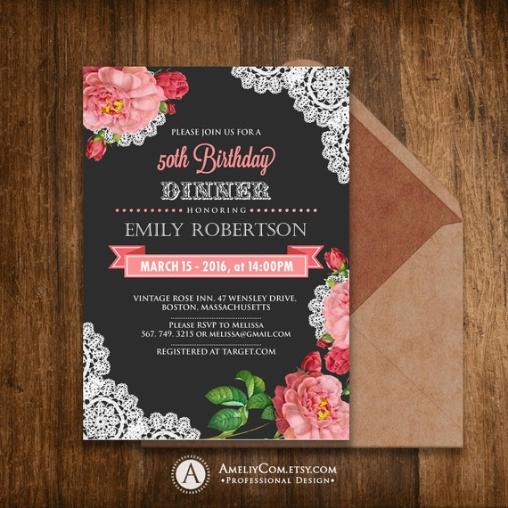 Birthday invitations printable spring girl birthday dinner birthday invitations printable spring girl birthday dinner invite any ages diy instant download shabby chic pink rose chalkboard filmwisefo Choice Image