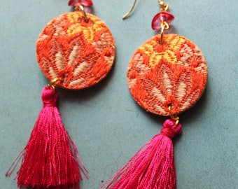 fabric earrings with tassels