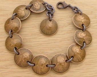 85th Birthday: 1933 US Penny Bracelet Dark Copper 85th Birthday Gift Coin Jewelry