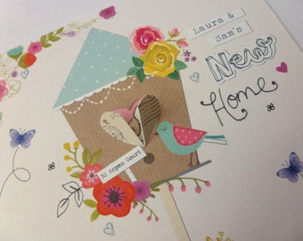 Handmade, personalised new home card with opening doors