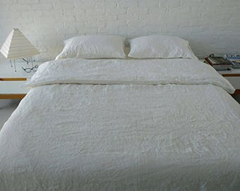 Set Linen Duvet cover and two pillowcases, Linen natural, White bedding natural organic set, flax bedding.
