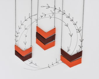 Chestnut Brown and Orange Leather Necklace. Chevron Necklace. Arrow Necklace. Geometric Necklace