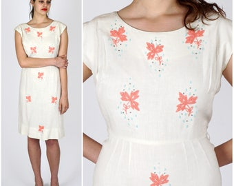 Vintage 50s/60's White Fitted Wiggle Dress with Pink Floral Beading by Premack | Large