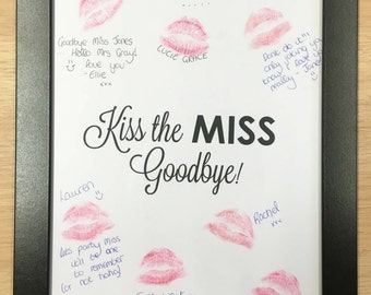Lipstick Kiss Frame Hen Party Night Do Bachelorette keepsake gift for bride to be game guest book Kiss the Miss Goodbye HPLSF103