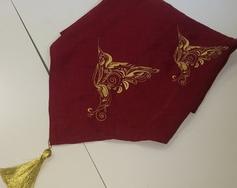 Linen scarf with golden birds
