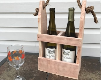 Rustic Wine Bottle Carrier