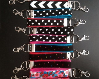 Colorful Patterned Fabric Key Fob Chain With Hook