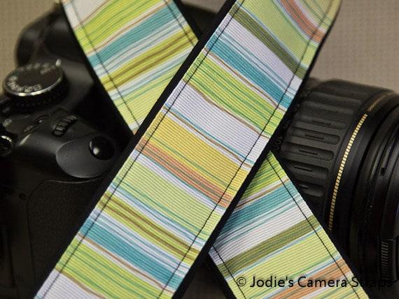 "Camera Strap Stripes Yellow Aqua in 1.5"" Wide Custom Padded Fits DSLR SLR 3285"