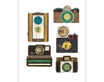 Vintage Camera Art Print - Art Collage Poster Print