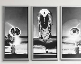 Airplane Art Print : Vintage Airplane Art - Airplane Triptych - 3 panel art print poster - Aviation art print