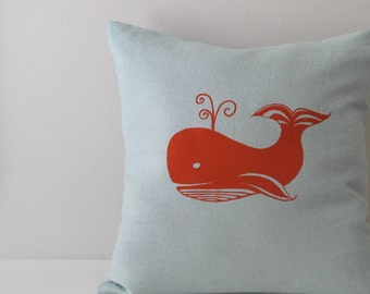 Pillow Cover Cushion Cover - Whale - 16 x 16 inches - Choose your fabric and ink color - Accent Pillow