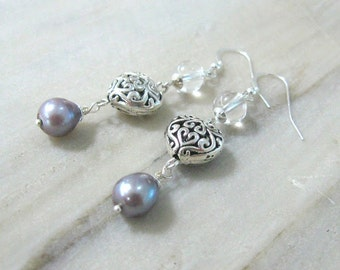Gray Pearl Earrings sterling silver pearl jewelry long dangle earrings with crystal quartz anniversary love jewelry filigree heart earrings