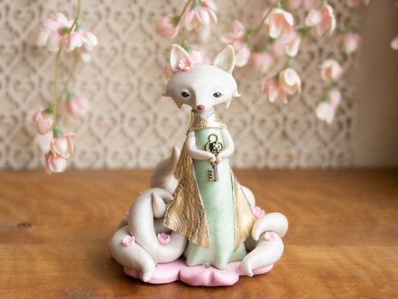 Kitsune Fox Guardian - White Kitsune of Springtime - Nine-tailed Fox