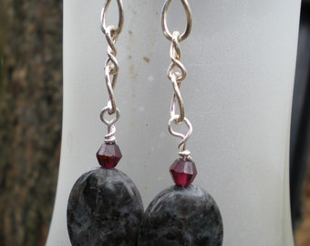 Midnight Kiss beaded earrings, one of a kind, blue labradorite, sterling silver and garnet