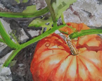 """Original Watercolor Painting - """"Pumpkin"""""""