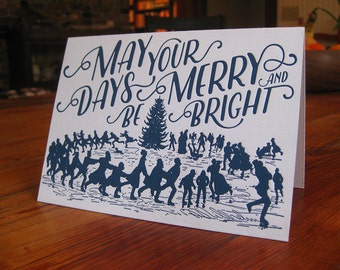 Ice Skaters Delight Letterpress Holiday Card Set of 20