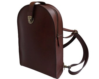 Small Brown Leather Backpack Purse - Dome Shaped