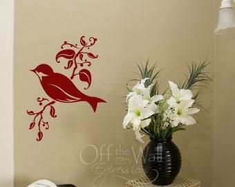 Bird on a Branch, vinyl wall art decal, songbird decor, nursery birds