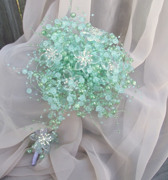 aqua blue pearl wedding bouquet petite bridesmaid bouquet