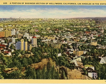Hollywood California Business Section Aerial Vintage Postcard 1944