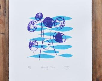 Honesty Blue Leaves , Limited Edition Print, Printmaking, Wall Art, Screenprint