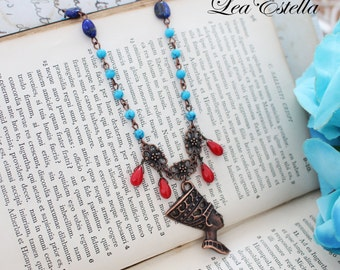 Egyptian Necklace, Egyptian Jewelry, Turquoise and red Necklace, Lapis Lazuli Necklace, Egyptian Queen necklace, Cleopatra - Nefertiti