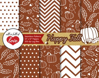Autumn Foliage Digital Paper Pack Fall Digital Scrapbook Brown Leafs Pumpkins and Acorns Pattern Thanksgiving Commercial Use