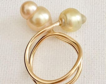 Doubled Twisted Pearl Rings