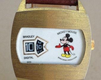 Rare Bradley Swiss Digital Hour & Minute Jump Mickey Moyse Character Watch Lot